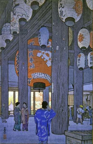 Ishiyama Temple (colour woodblock print)
