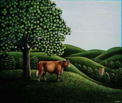 Bull on a hill, 1981 (gouache)