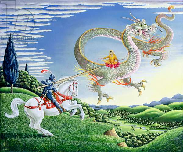 St George and the Dragon, or East Meets West (oil on canvas)