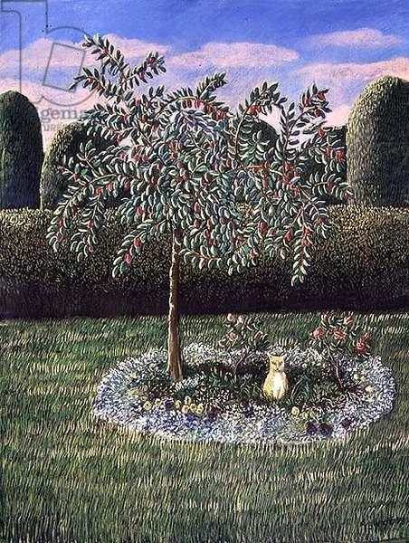 Cat under a plum tree, 1988 (pastel)