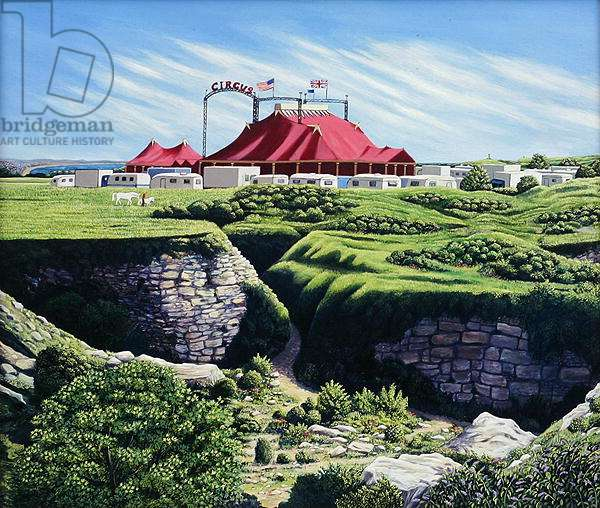 Big Top and Quarry on Portland, 2007 (oil on canvas)