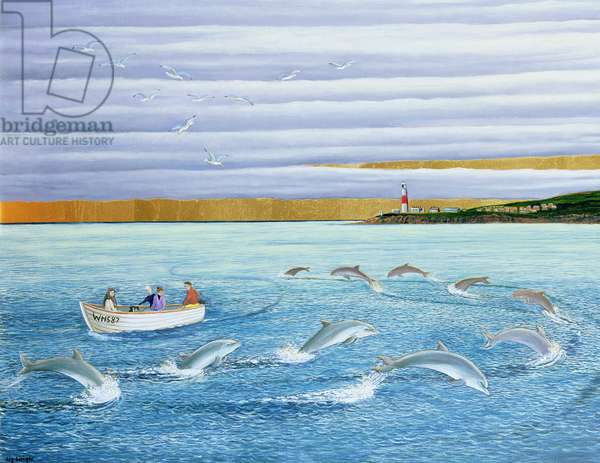 Dolphins Playing, 2004 (oil on canvas)
