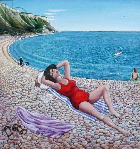 Sunbathing, Chesil Cove, 2000 (oil on board)