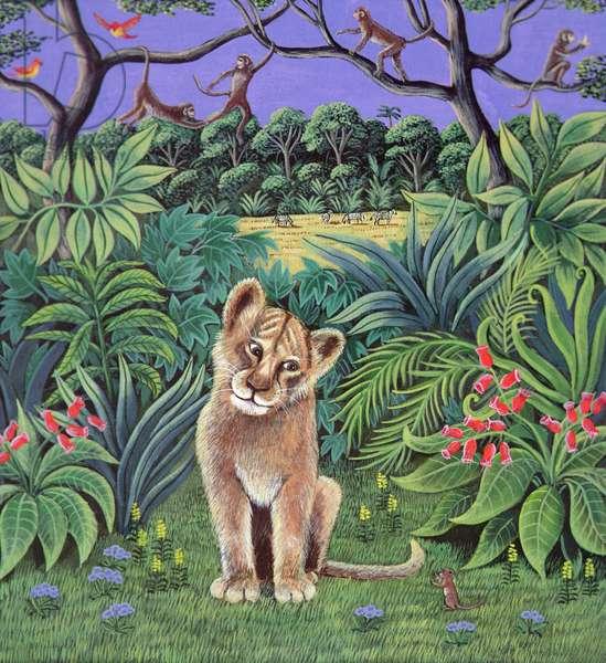 Lion Cub and Mouse, 1980 (gouache)