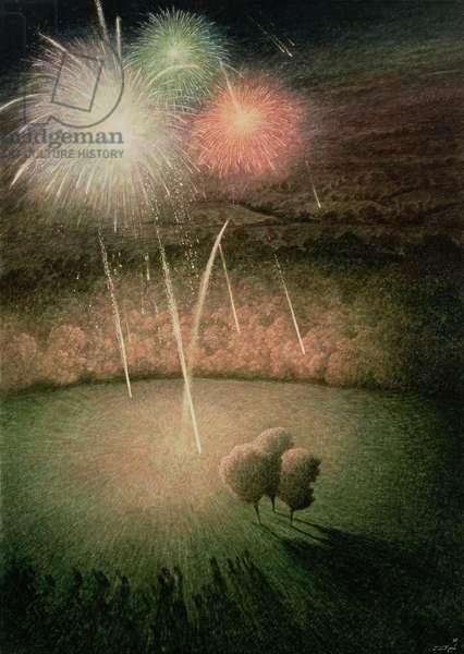 Fireworks, 1998 (egg tempera on gesso panel)
