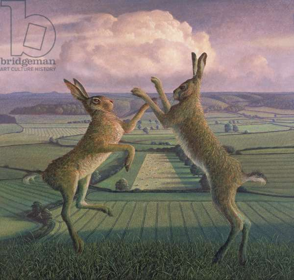 Boxing Hares on Brimsdown Hill, 2007 (tempera on canvas)