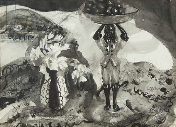 Still Life With Figurine (black and white watercolour)