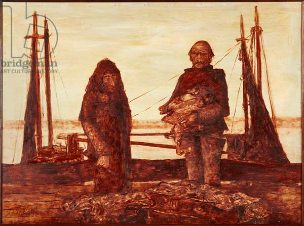 Unloading the Catch (sepia oil on board)
