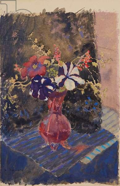 Petunias, 1960 (pen and watercolour)