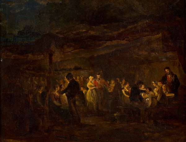 An Evening Banquet, Soldiers Before a Castle (oil on panel)