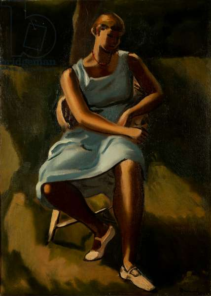 Seated Figure of Women (oil on canvas)