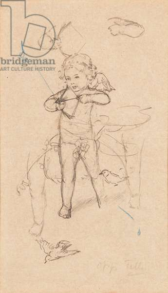 Sketch of a Putto (pencil on buff paper)