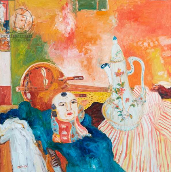 Still Life With Chinese Doll And Teapot (oil on canvas)