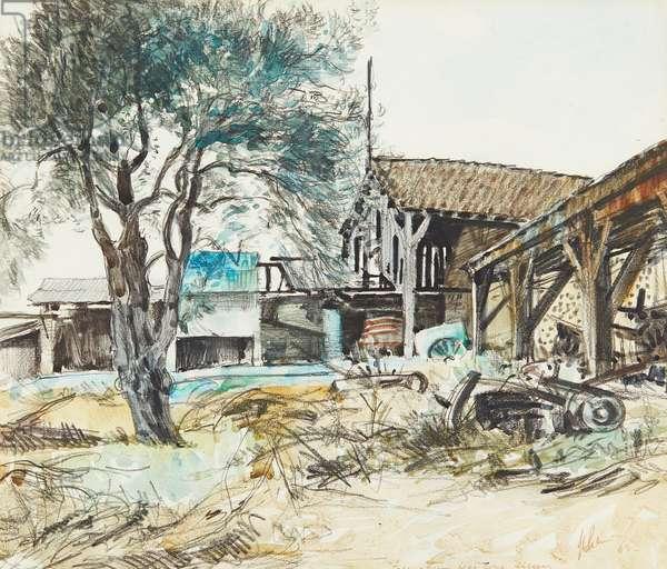 French Farm, Near Bone, Algieria (mixed media)