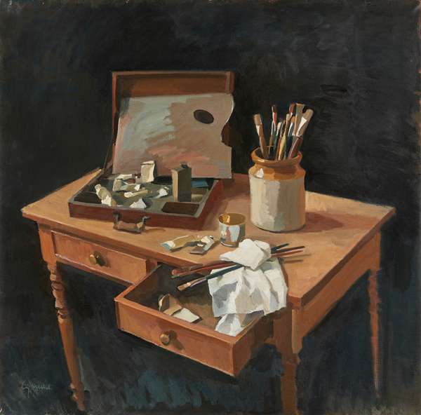Palette and Paint Brushes on a Table (oil on canvas)