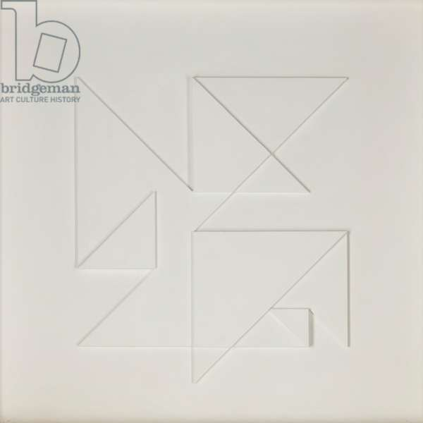 Diagonal Rotation, 1982 (painted wooden relief)