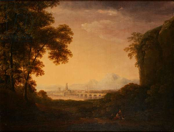 Figures In a Wooded Italian Landscape (oil on canvas)