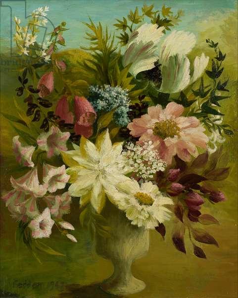 Spring Flowers, 1947 ( oil on board)