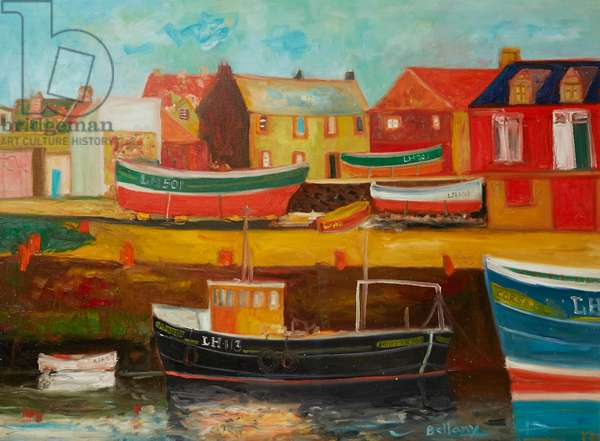 Boats In An East Coast Harbour (oil on canvas)