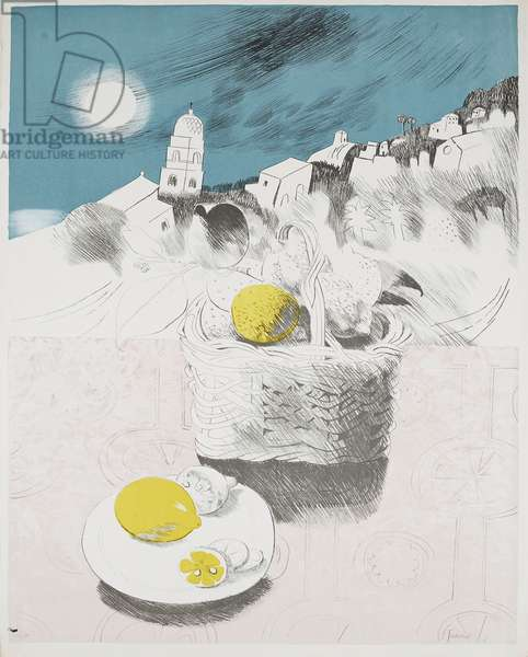 Basket Of Lemons, 1971 (lithograph)