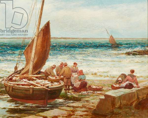 Bringing in the Catch (oil on canvas)