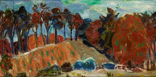 Autumn Landscape, Temple (oil on canvas)