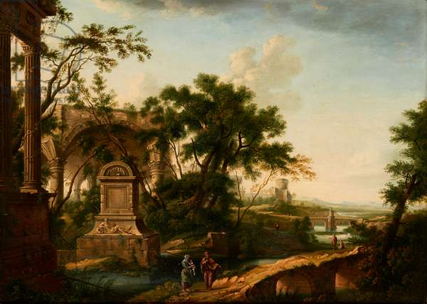 A Classical Landscape with Figures By Ruins (oil on canvas)
