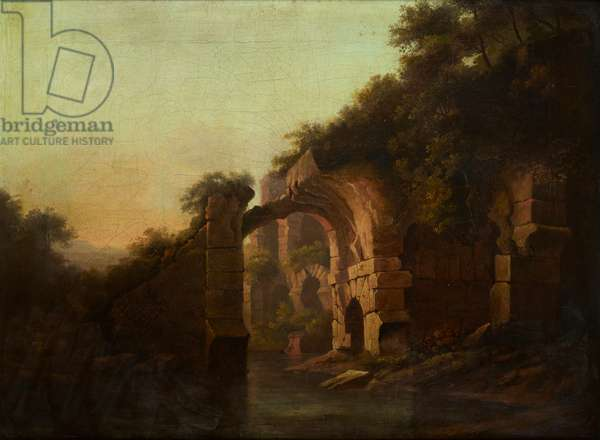 A Ruined Bridge Over a River, Italy (oil on canvas)
