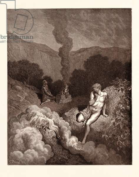 Cain and Abel Offering Their Sacrifices, by Gustave Doré, 1832 - 1883, French. Engraving for the Bible. Romanticism, Colour, Color Engraving