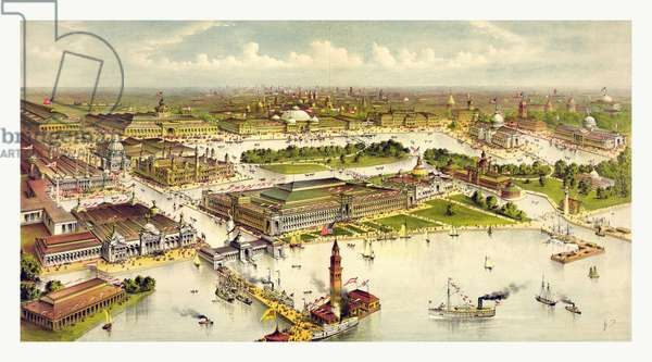 Grand birds eye view of the grounds and buildings of the great Columbian exposition at Chicago, Illinois, 1892 1893, In commemoration of the four hundredth anniversary of the discovery of America by Christopher Columbus. By Currier & Ives circa 1892, US, USA, America ©LisztCollection/Leemage