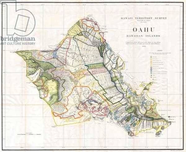 1902, Land Office Map of the Island of Oahu, Hawaii, Honolulu ©QuintLox/Leemage
