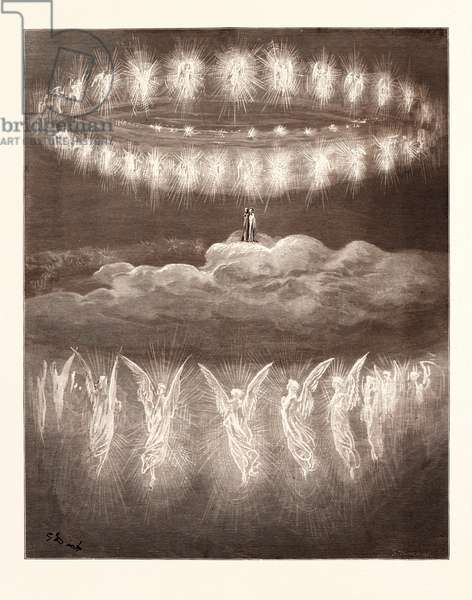 The Angelic Wreaths, by Gustave Doré, 1832 - 1883, French. Engraving for the Purgatorio or Purgatory by Dante Alighieri. 1870, Art, Artist, Romanticism, Colour, Color Engraving