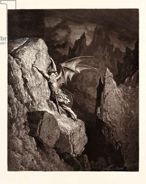 Satan's Flight Through Chaos, by Gustave Doré, 1832 - 1883, French. Engraving for Paradise Lost by Milton, 1870, Romanticism, Colour, Color Engraving