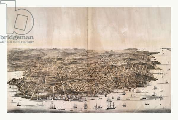 Bird's-eye view of San Francisco, California from above the bay looking west by Charles B Gifford, US, USA, America ©LisztCollection/Leemage