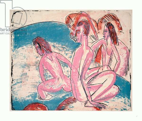 Three Bathers by Stones (Drei Badende an Steinen), German, 1880  1938, 1913, Lithograph in Pink, Blue, Red, and Black
