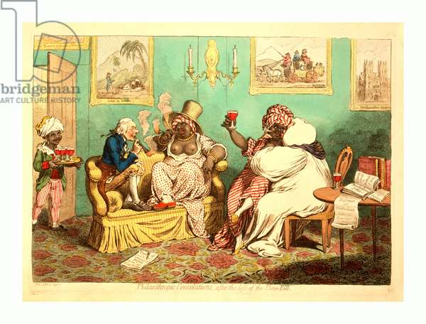 Philanthropic Consolations, after the Loss of the Slave-Bill, Gillray, James, 1756-1815, Engraver, 1796 , 1 Print: Etching, Hand-Colored, William Wilberforce and Samuel Horsley, Bishop of Rochester, Cavort with Two Black Women in a Well-Furnished Room. Wilberforce and a Woman, Wearing a Print Dress with Her Breasts Exposed, Sit on a Couch Smoking Cheroots. Horsely, in His Bishop's Robes, Embraces a Woman Sitting on His Knee Holding a Wine Glass. A Black Servant Boy Brings in a Tray of Filled Glasses.