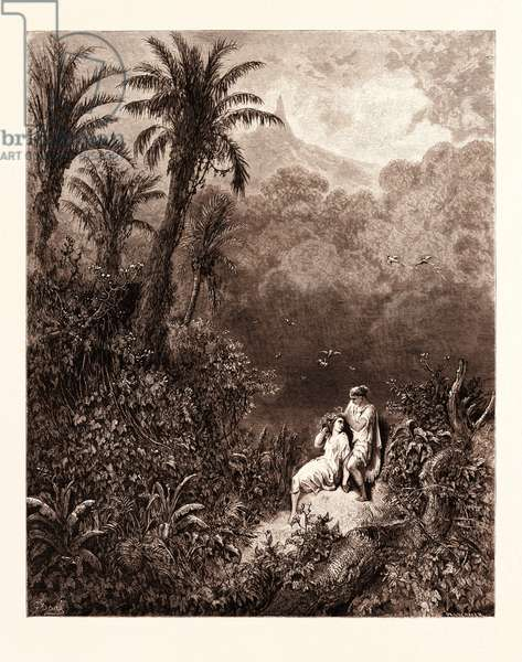 The Toilet in the Desert, by Gustave Doré, 1832 - 1883, French. Engraving for Atala by Chateaubriand. 1870, Art, Artist, Romanticism, Colour, Color Engraving