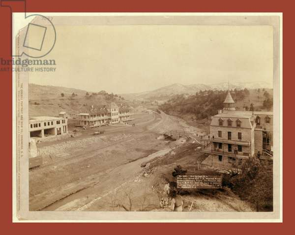 Hot Springs, S.D. From Club House Hill, S.E., Showing Minnekahta and Gillespie Hotels. The Fremont, Elkhorn & M.V. Ry., with Old Town in Distance