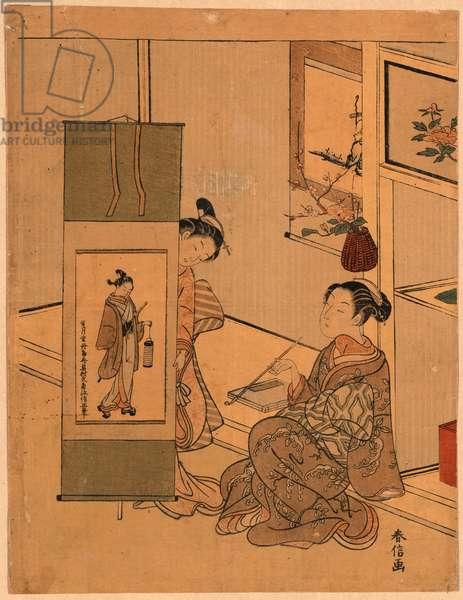 Okumura Masanobu No Kakejiku O Miru Yujo, Courtesans Admiring a Painting by Okumura Masanobu. [Between 1767 and 1769], 1 Print : Woodcut, Color ; 29 X 22.1 ., Print Shows an Interior Scene with Two Courtesans Admiring a Screen Painting of an Actor or Beautiful Woman by the Painter Okumura Masanobu.