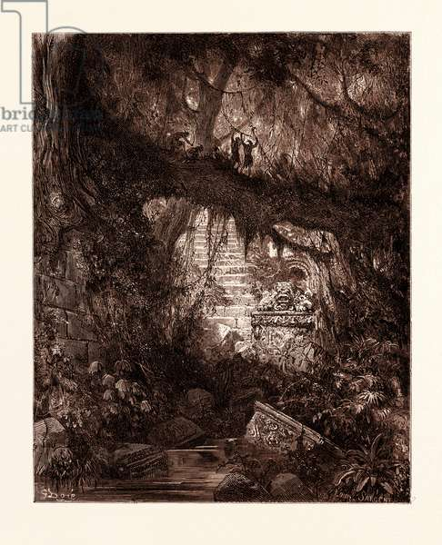 The Wood of Blood in Atala, by Gustave Doré, 1832 - 1883, French. Engraving for Atala by Chateaubriand. Romanticism, Colour, Color Engraving
