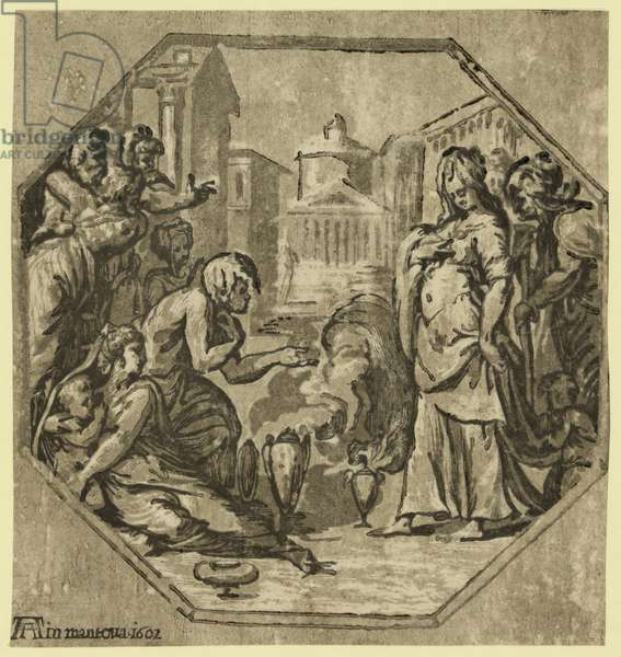 Ritual in Honor of Psyche. 1602. Chiaroscuro Woodcut, Print Showing Psyche Standing to the Right with Urns or Incense Burners on the Ground at Her Feet, behind Her and on the Left Are Several Women.