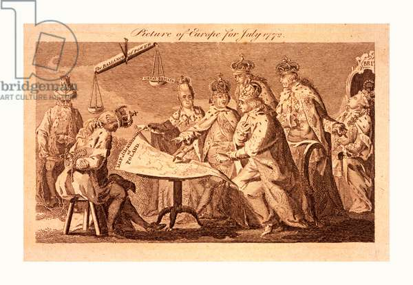 Picture of Europe for July 1772, Catherine II, Leopold II, and Frederick William II Seated at Table on which Rests a Map of Poland; Standing behind Them and Looking Over Their Shoulders Are Louis XV and Charles III, Still Further Back, Asleep on a Throne is George III; on the Left, with Head Bowed, Wearing a Broken Crown, and with Hands Bound behind Him, Sits the King of Poland, to His Left Sits Selim III in Chains; a Scale the Ballance of Power Hangs above the Table,  the Lighter Side is Labeled Great Britain Reflecting George III's Influence on, or Concern for, the Affairs of Europe.