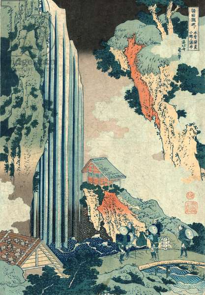 Kiso Kaido Ono No Bakufu, Ono Falls on the Kisokaido. [Ca. 1833, Printed Later], 1 Print : Woodcut, Color ; 37.5 X 25.9 ., Print Shows Travelers Looking at the Ono Falls on the Kiso Road, with Two Buildings Set to the Sides of the Falls.