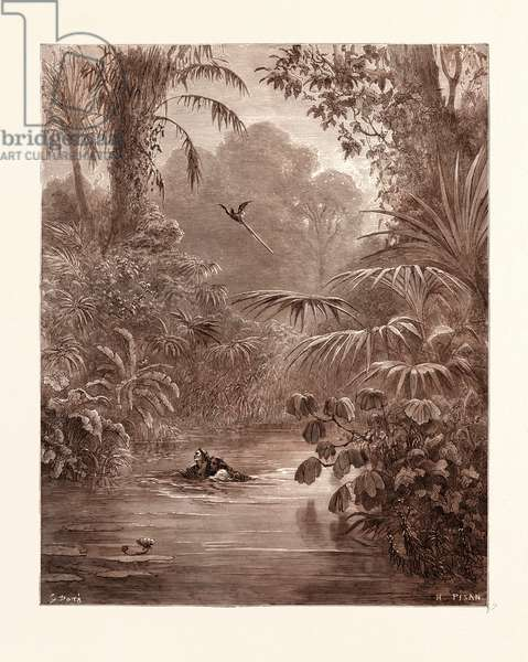 Atala and Chactas Crossing a River, by Gustave Dore, 1832 - 1883, French. Engraving for Atala by Chateaubriand, 1870, Art, Artist, Romanticism, Colour, Color Engraving