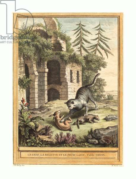 Martin Marvie after Jean-Baptiste Oudry (French, 1713 - 1813 ), Le chat, la balette et le petit lapin (The Cat, the Weasel, and the Rabbit), published 1756, hand-colored etching, Gift of Mr. and Mrs. George W. Ware ©LisztCollection/Leemage