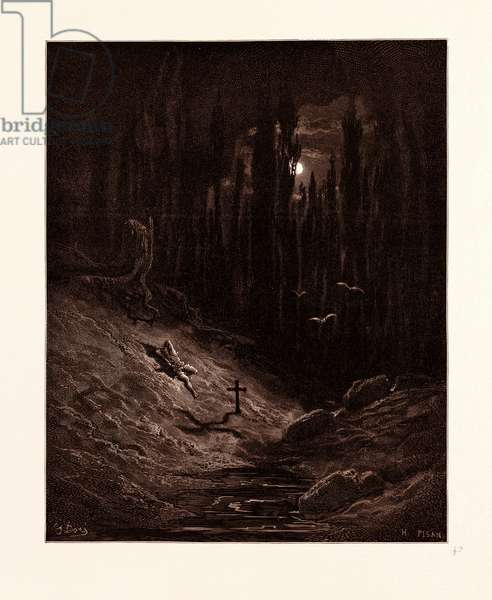 The Vigil by the Grave, by Gustave Dore, 1832 - 1883, French. Engraving for Atala by Chateaubriand. 1870, Art, Artist, Romanticism, Colour, Color Engraving