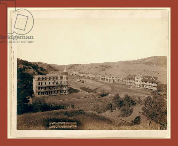 Hot Springs, S.D. The Minnekahta and Gillispie Hotels, New Blocks. The Fremont, Elkhorn & M.V. Ry., Battle Mt. In Distance