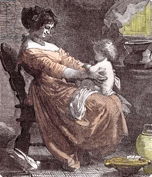 Mother and Child, 1855 (engraving)