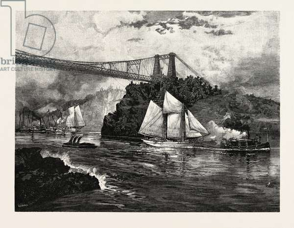 New Brunswick, Suspension Bridge, St. John, at Low Tide, Canada, Nineteenth Century Engraving
