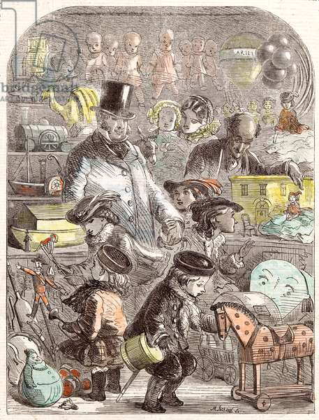 New Year's Gifts, the Toyshop, Jackson Children, 1860 (engraving)